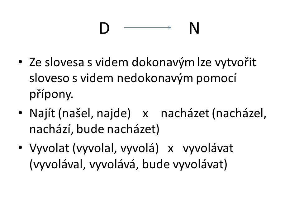 D N Ze slovesa s videm dokonavým lze vytvořit sloveso s videm nedokonavým pomocí přípony.