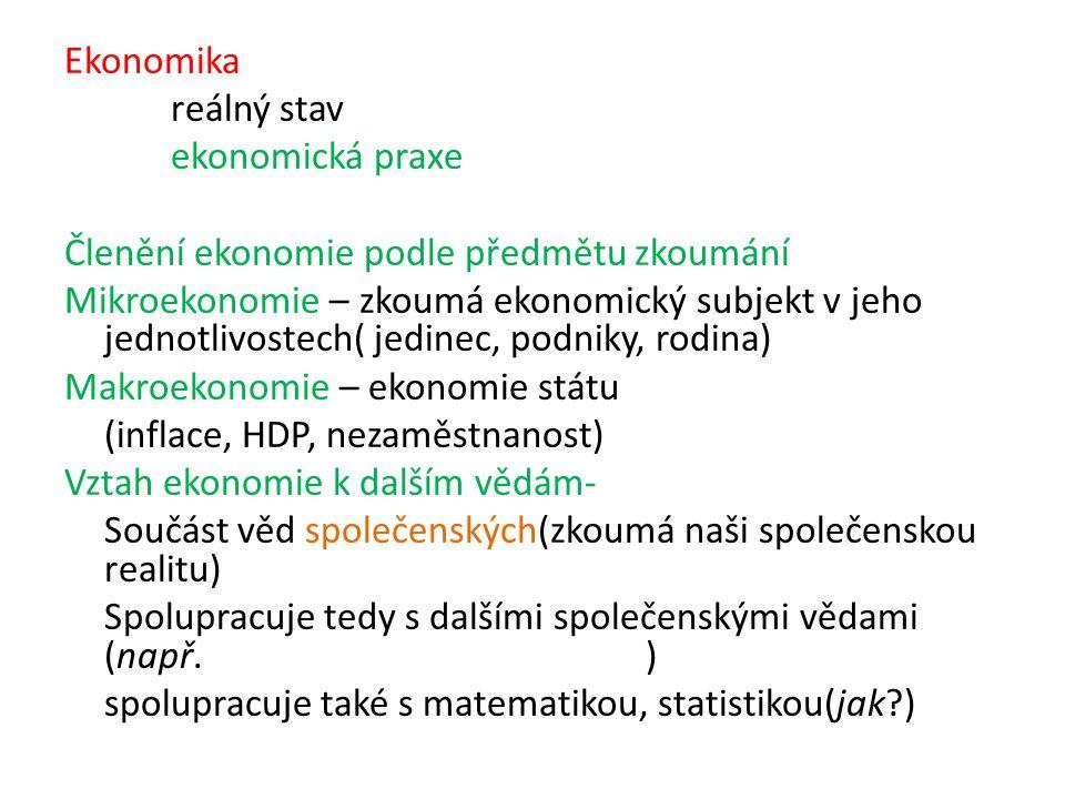 Ekonomika reálný stav. ekonomická praxe. Členění ekonomie podle předmětu zkoumání.