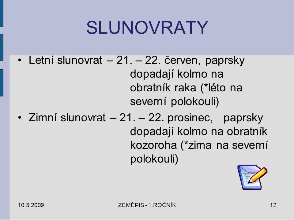SLUNOVRATY Letní slunovrat – 21. – 22. červen, paprsky dopadají kolmo na obratník raka (*léto na severní polokouli)