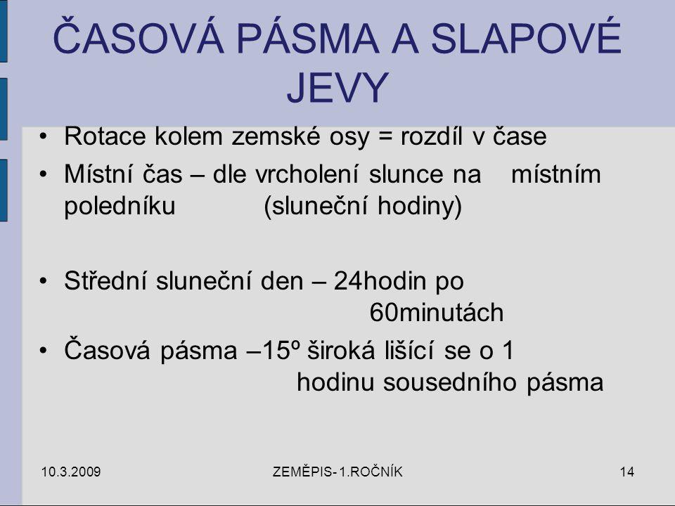 ČASOVÁ PÁSMA A SLAPOVÉ JEVY