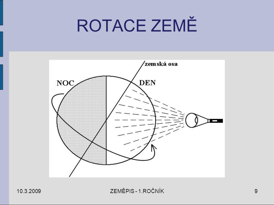 ROTACE ZEMĚ 10.3.2009 ZEMĚPIS - 1.ROČNÍK