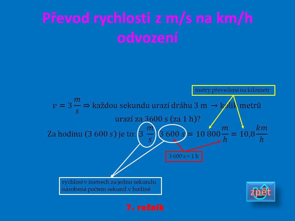 Převod rychlosti z m/s na km/h odvození