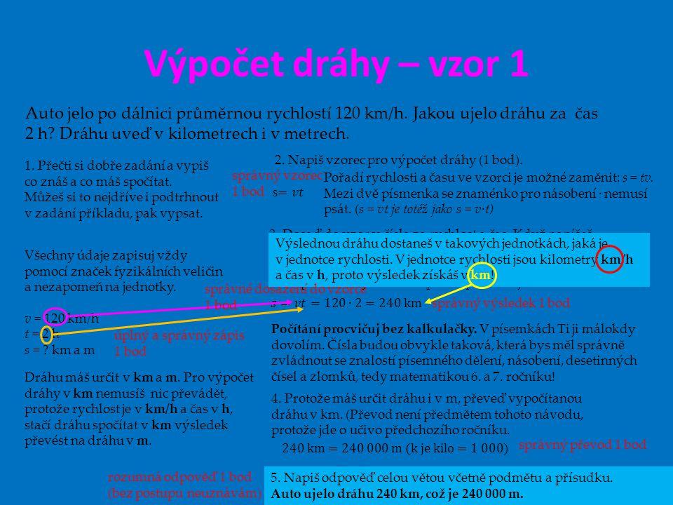 Výpočet dráhy – vzor 1 7. ročník