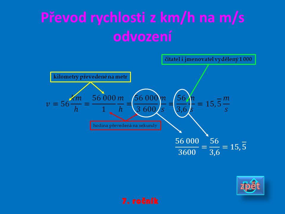 Převod rychlosti z km/h na m/s odvození