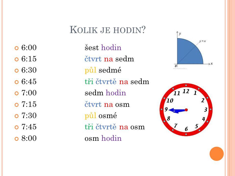 Kolik je hodin 6:00 šest hodin 6:15 čtvrt na sedm 6:30 půl sedmé