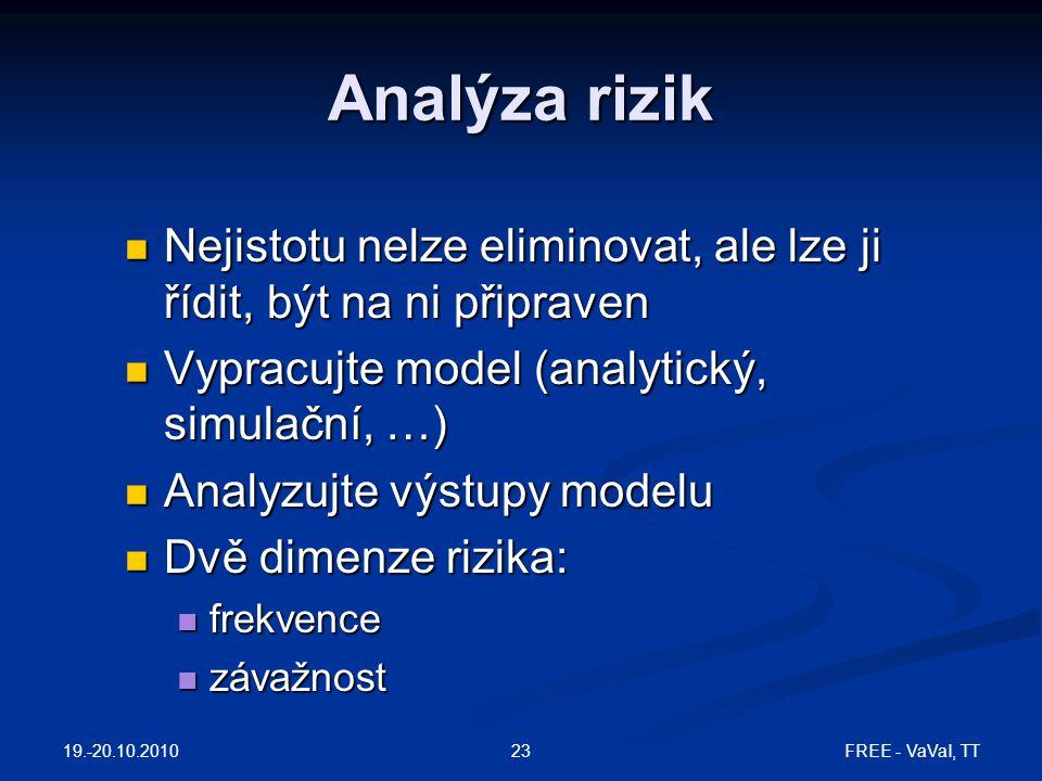 Analýza rizik Nejistotu nelze eliminovat, ale lze ji řídit, být na ni připraven. Vypracujte model (analytický, simulační, …)