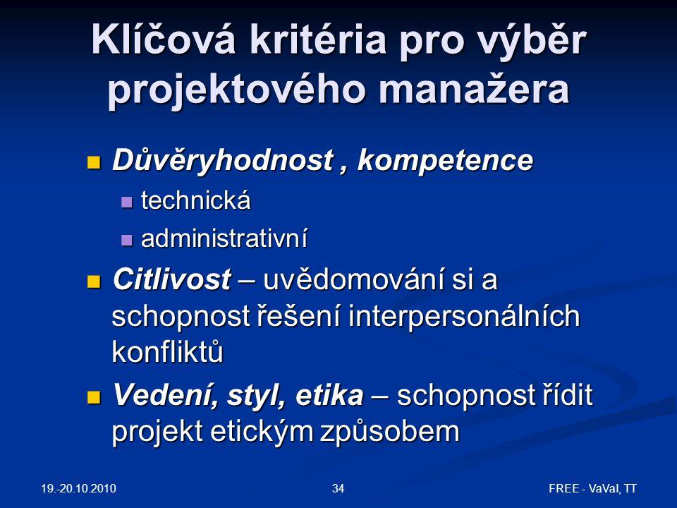 Klíčová kritéria pro výběr projektového manažera