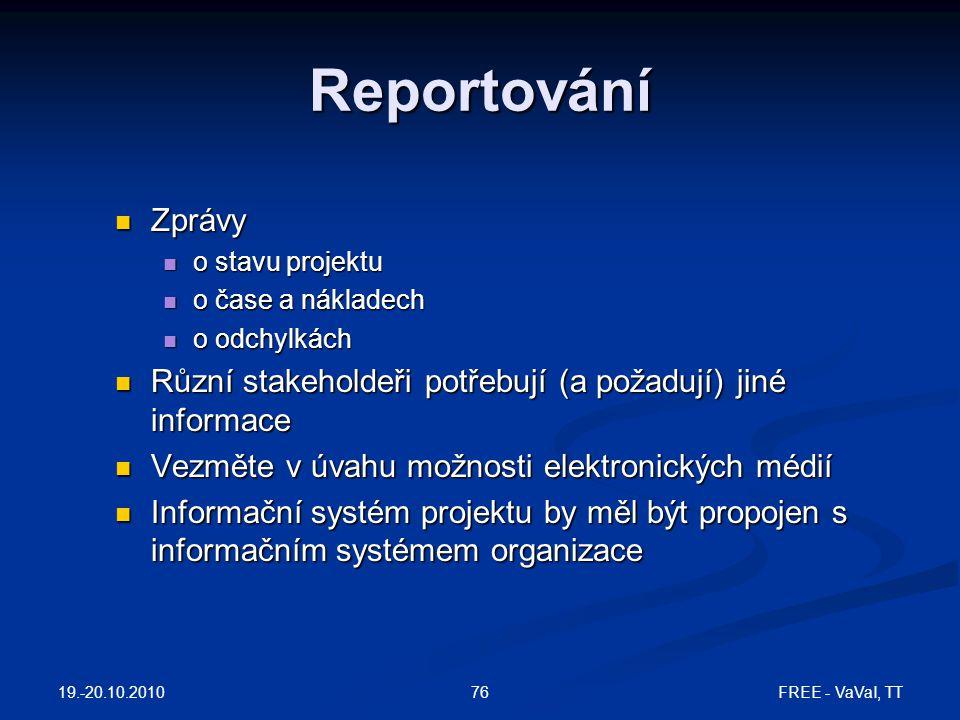 Reportování Zprávy. o stavu projektu. o čase a nákladech. o odchylkách. Různí stakeholdeři potřebují (a požadují) jiné informace.