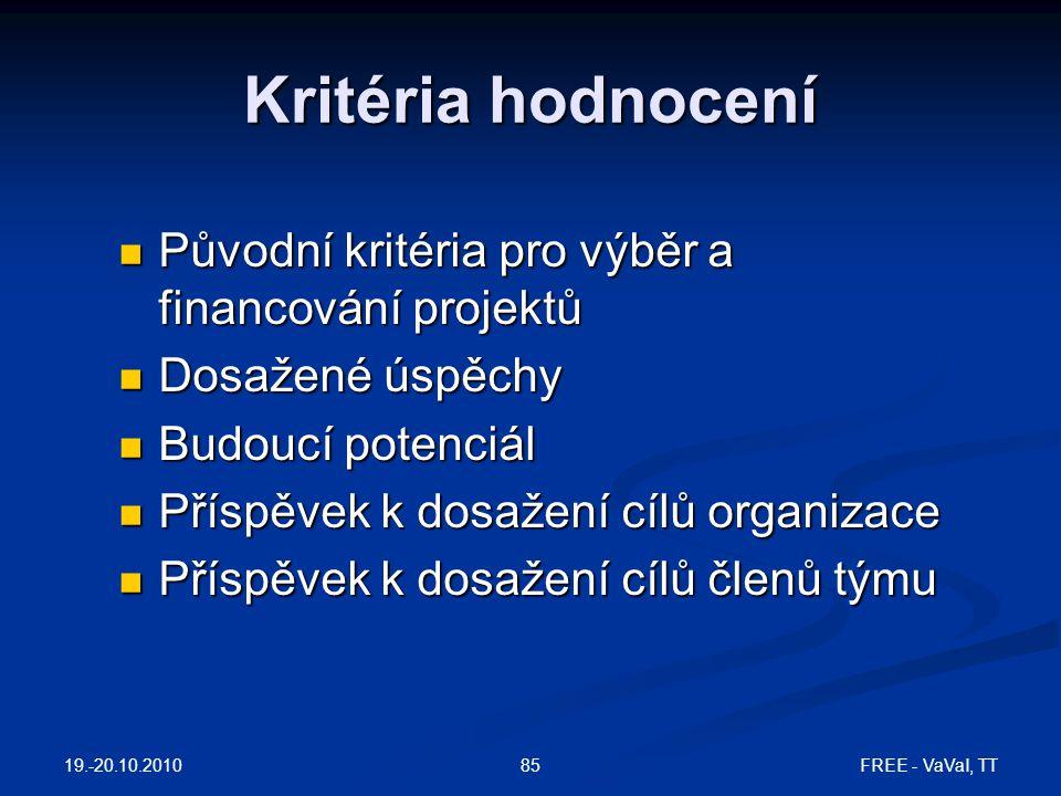 Kritéria hodnocení Původní kritéria pro výběr a financování projektů