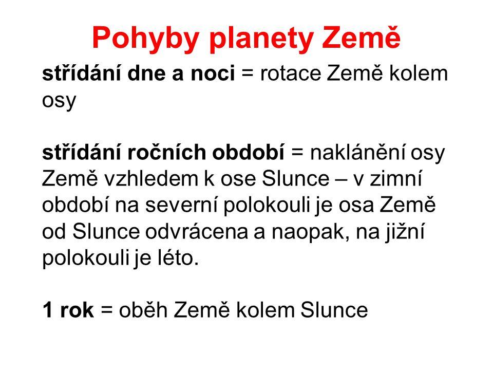 Pohyby planety Země střídání dne a noci = rotace Země kolem osy