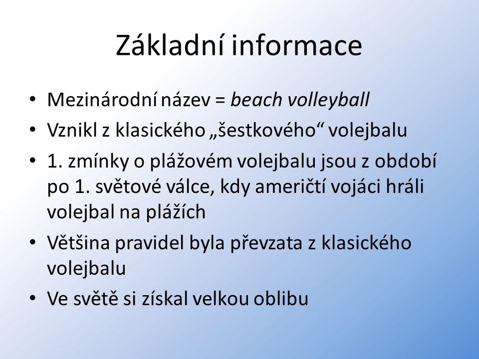 Základní informace Mezinárodní název = beach volleyball
