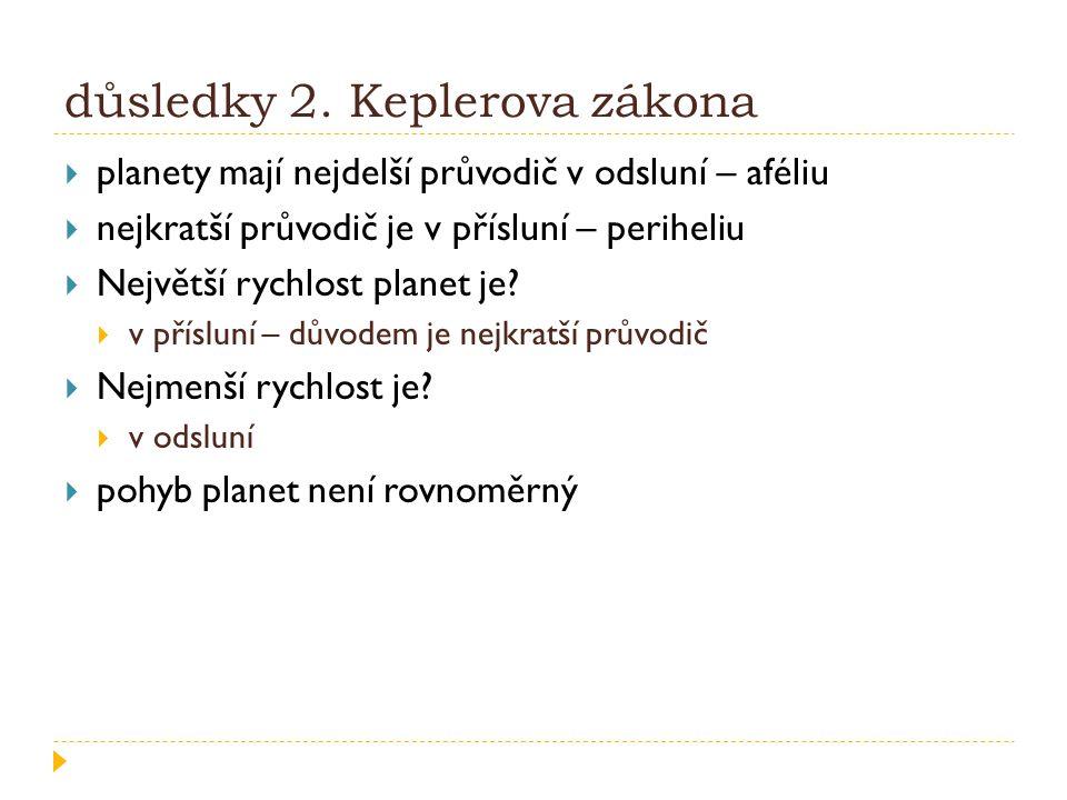 důsledky 2. Keplerova zákona