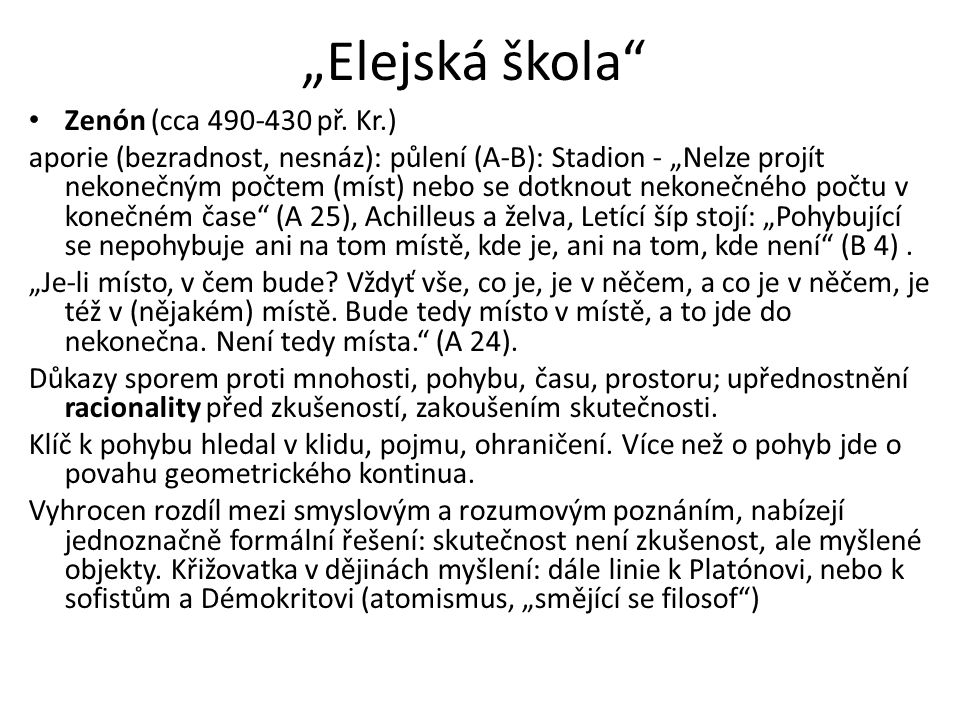 """""""Elejská škola Zenón (cca 490-430 př. Kr.)"""