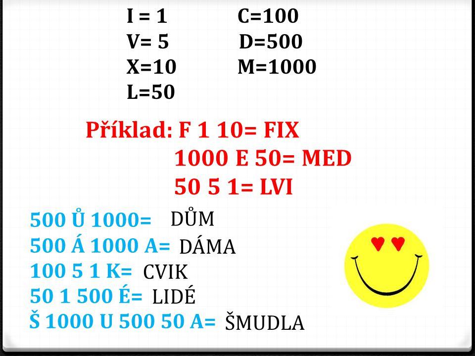 Příklad: F 1 10= FIX 1000 E 50= MED 50 5 1= LVI I = 1 C=100 V= 5 D=500