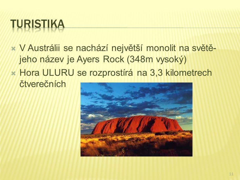 Turistika V Austrálii se nachází největší monolit na světě-jeho název je Ayers Rock (348m vysoký)