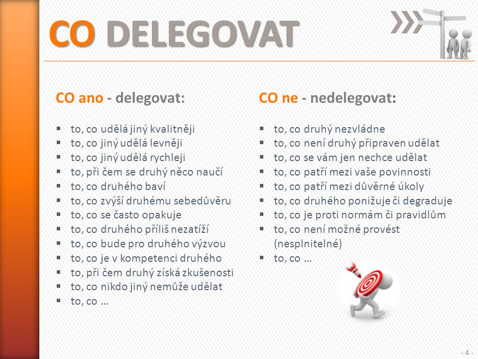 CO DELEGOVAT CO ano - delegovat: CO ne - nedelegovat: