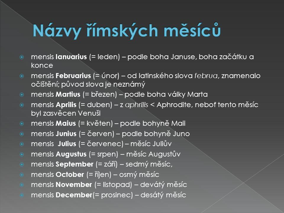 Názvy římských měsíců mensis Ianuarius (= leden) – podle boha Januse, boha začátku a konce.