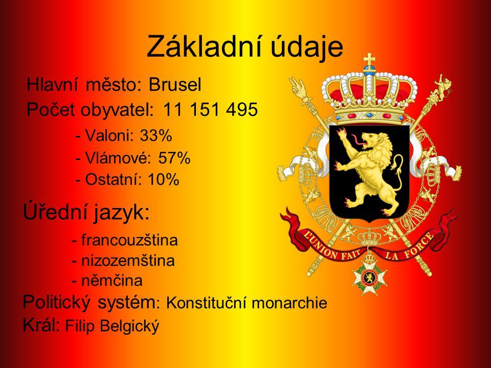 Základní údaje Úřední jazyk: - francouzština Hlavní město: Brusel