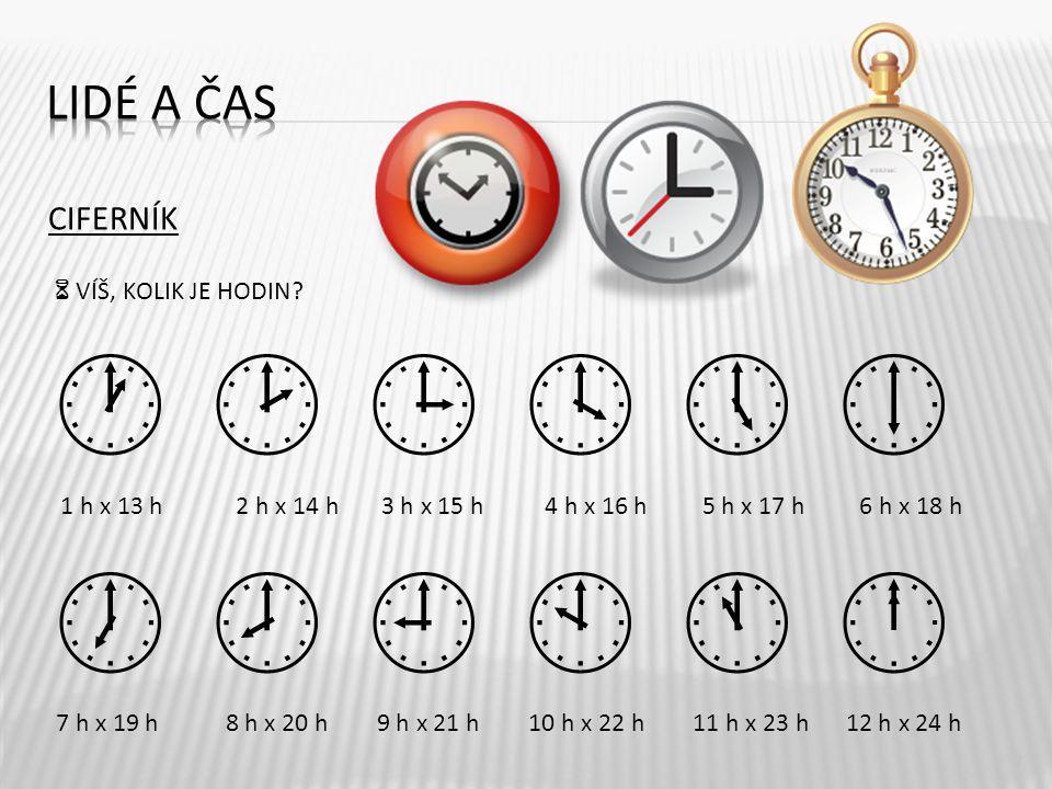             Lidé a čas CIFERNÍK  VÍŠ, KOLIK JE HODIN