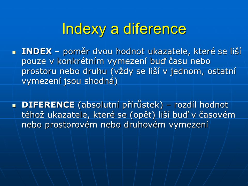 Indexy a diference