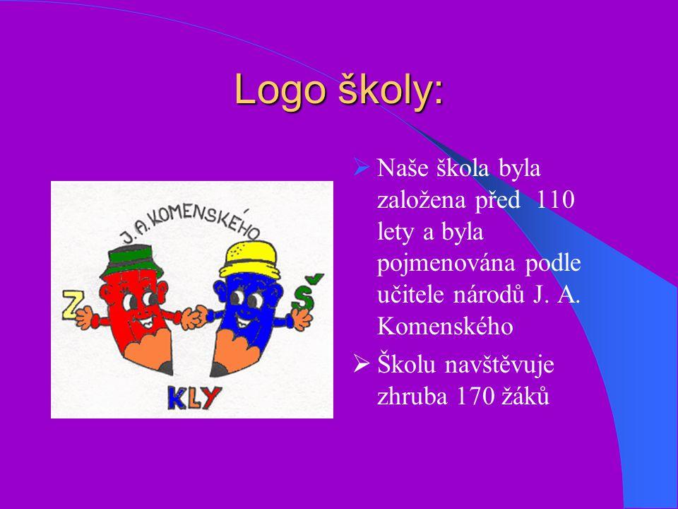 Logo školy: Naše škola byla založena před 110 lety a byla pojmenována podle učitele národů J. A. Komenského.