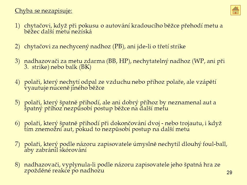 Chyba se nezapisuje: 1) chytačovi, když při pokusu o autování kradoucího běžce přehodí metu a běžec další metu nezíská.