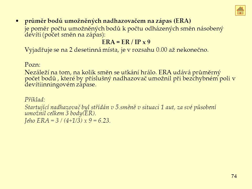 průměr bodů umožněných nadhazovačem na zápas (ERA)