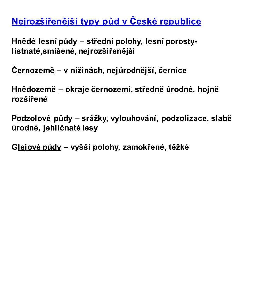 Nejrozšířenější typy půd v České republice