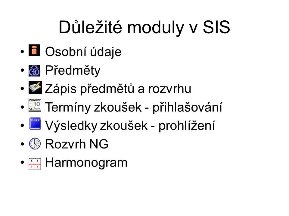 Důležité moduly v SIS Osobní údaje Předměty Zápis předmětů a rozvrhu