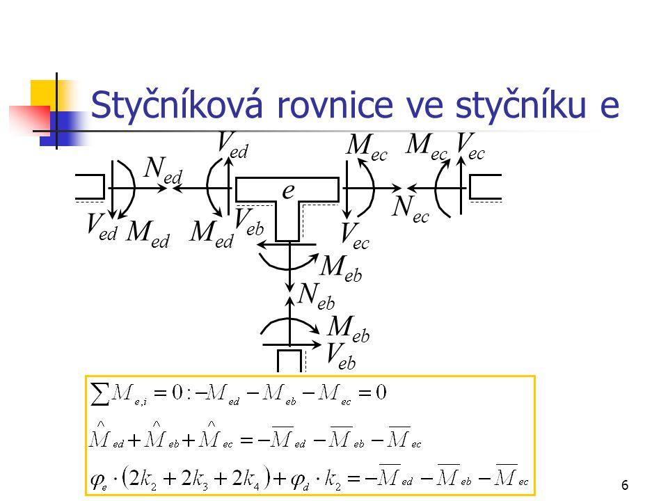 Styčníková rovnice ve styčníku e
