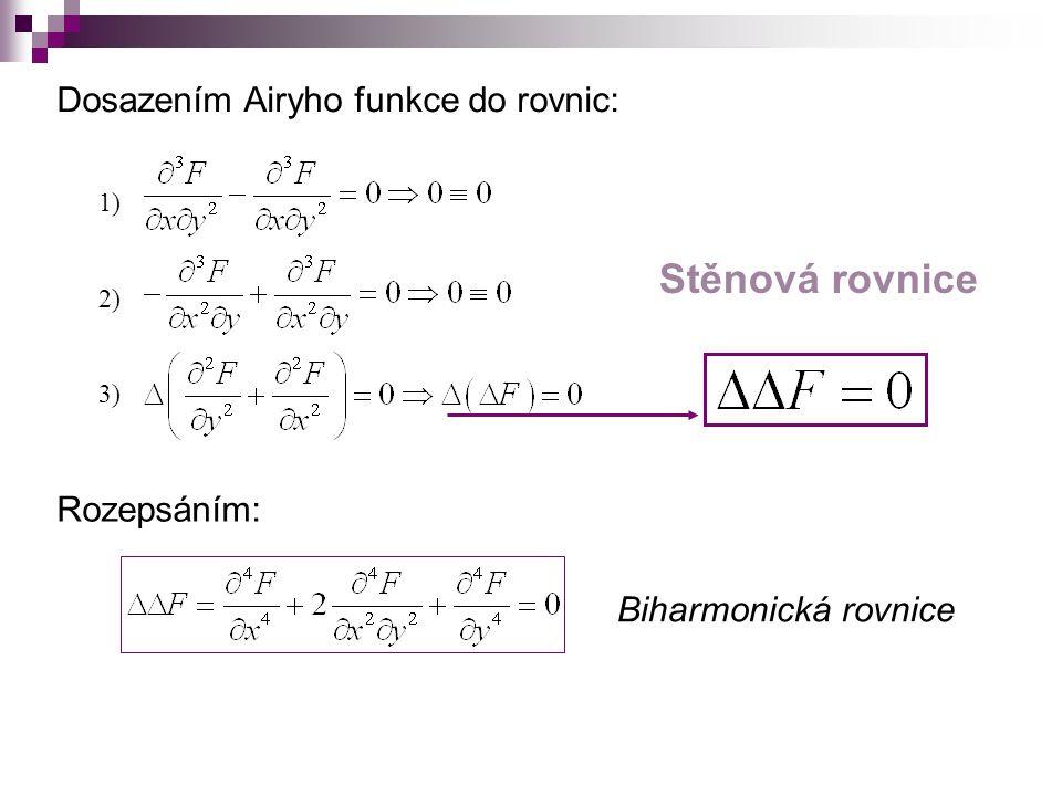 Stěnová rovnice Dosazením Airyho funkce do rovnic: Rozepsáním: