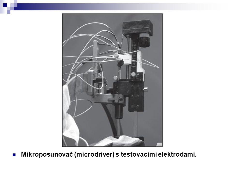 Mikroposunovač (microdriver) s testovacími elektrodami.