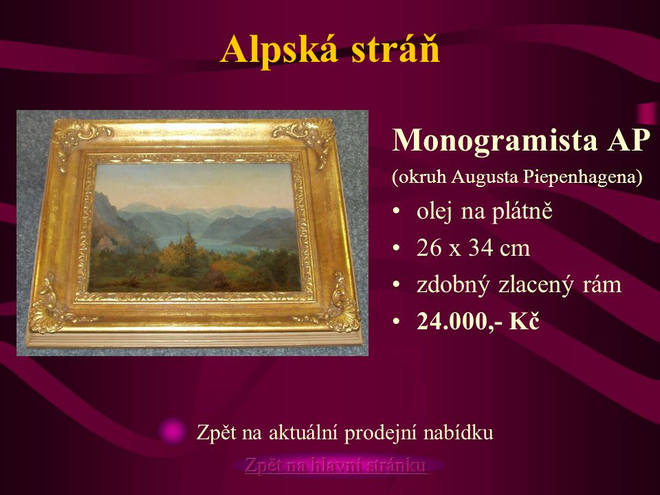 Alpská stráň Monogramista AP olej na plátně 26 x 34 cm