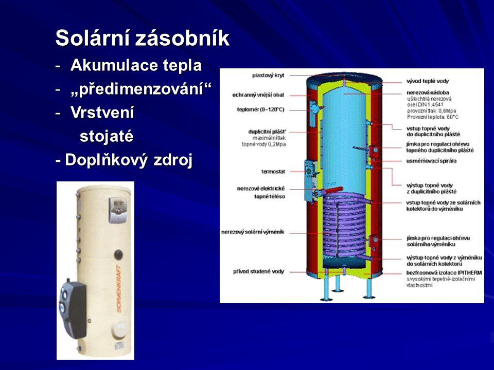 """Solární zásobník Akumulace tepla """"předimenzování Vrstvení stojaté"""