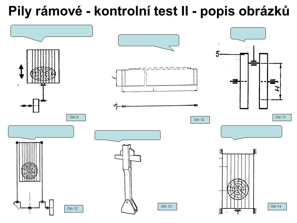 Pily rámové - kontrolní test II - popis obrázků