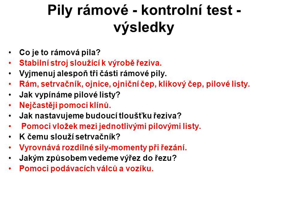 Pily rámové - kontrolní test - výsledky