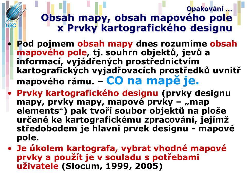 Opakování ... Obsah mapy, obsah mapového pole x Prvky kartografického designu