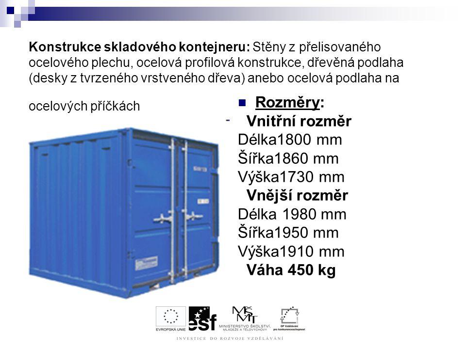 Rozměry: Vnitřní rozměr Délka1800 mm Šířka1860 mm Výška1730 mm