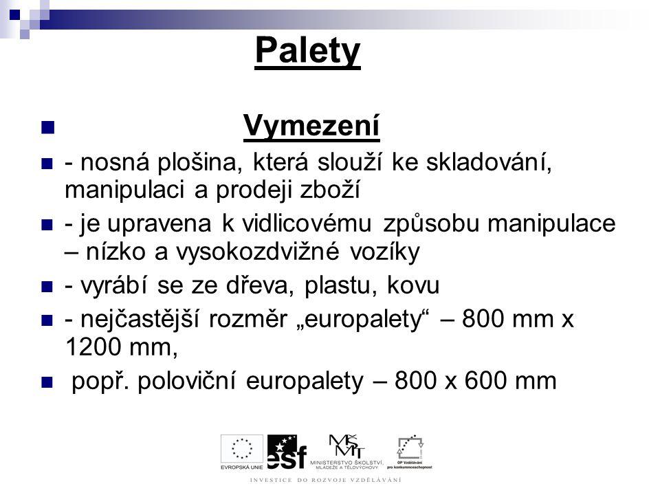 Palety Vymezení. - nosná plošina, která slouží ke skladování, manipulaci a prodeji zboží.