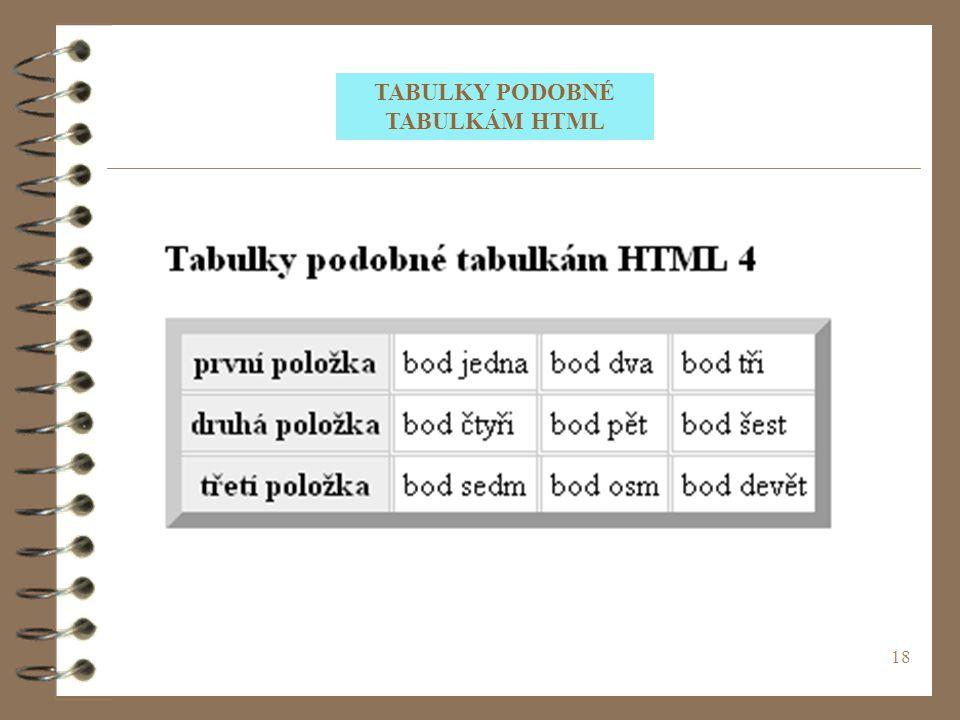 TABULKY PODOBNÉ TABULKÁM HTML
