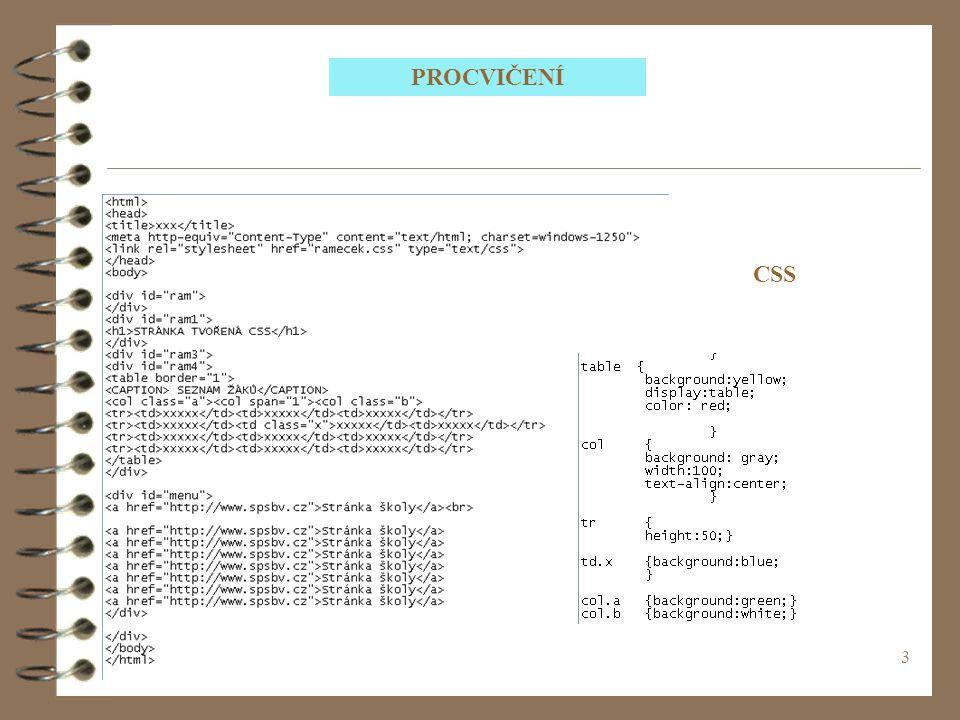 PROCVIČENÍ CSS