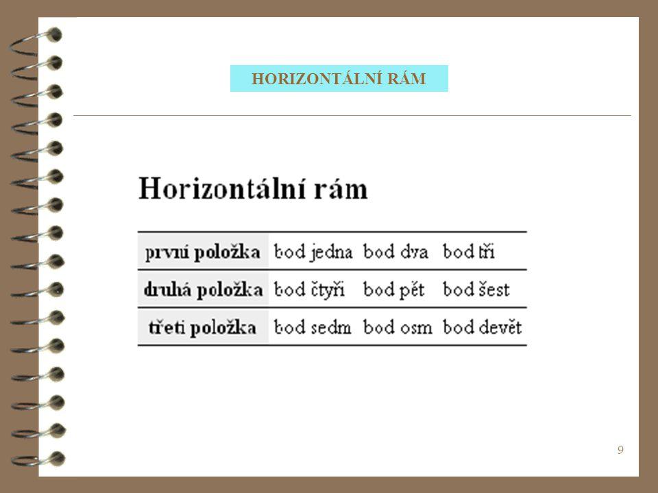 HORIZONTÁLNÍ RÁM