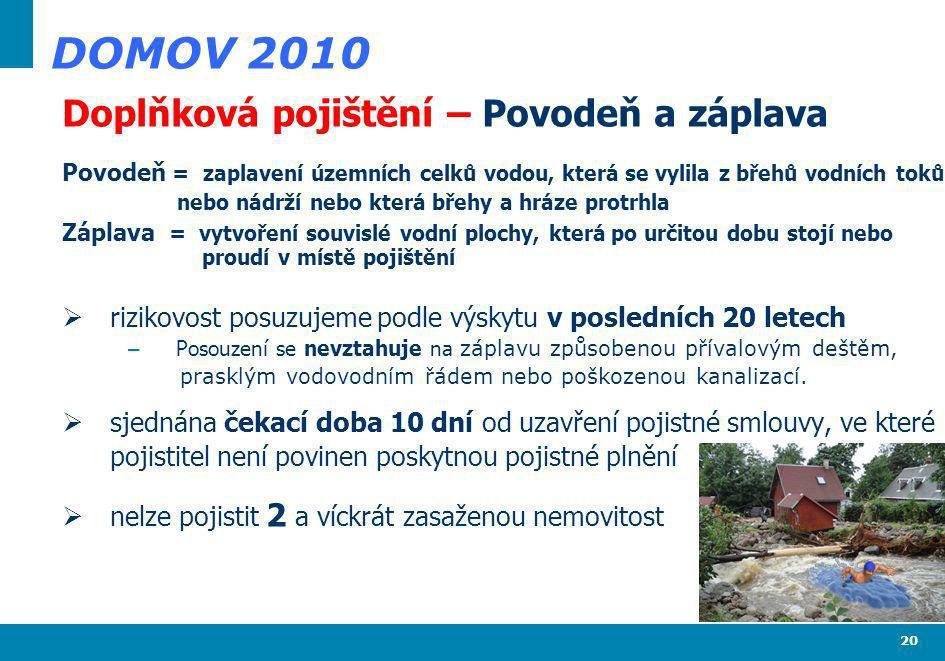 DOMOV 2010 Doplňková pojištění – Povodeň a záplava