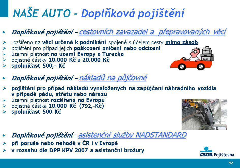 NAŠE AUTO - Doplňková pojištění