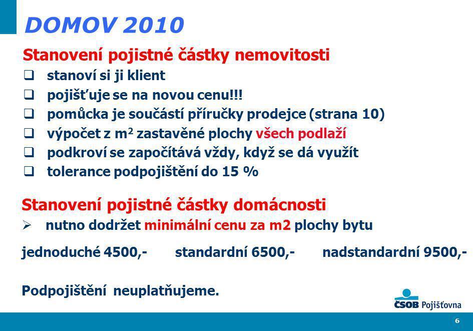 DOMOV 2010 Stanovení pojistné částky nemovitosti