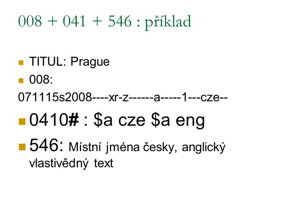 546: Místní jména česky, anglický vlastivědný text