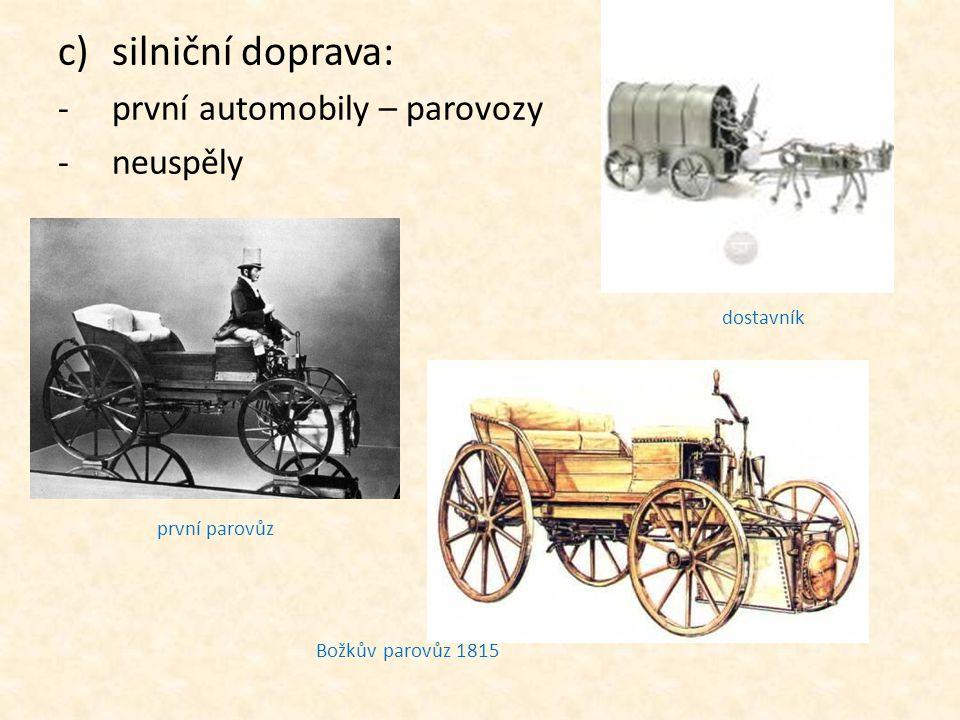 silniční doprava: první automobily – parovozy neuspěly dostavník