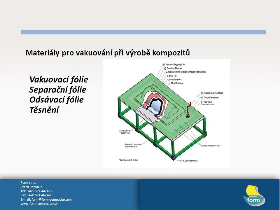 Vakuovací fólie Separační fólie Odsávací fólie Těsnění