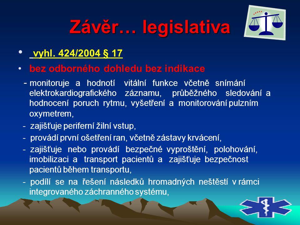 Závěr… legislativa vyhl. 424/2004 § 17