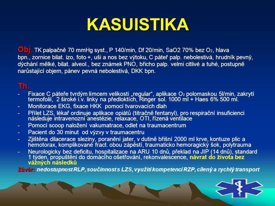 KASUISTIKA Obj. TK palpačně 70 mmHg syst., P 140/min, Df 20/min, SaO2 70% bez O2, hlava.